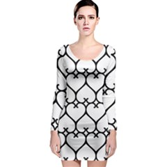 Heart Background Wire Frame Black Wireframe Long Sleeve Bodycon Dress