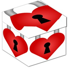 Heart Padlock Red Love Storage Stool 12   by Mariart