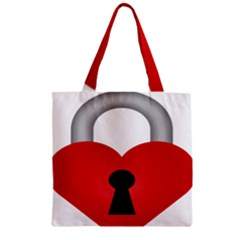 Heart Padlock Red Love Zipper Grocery Tote Bag by Mariart