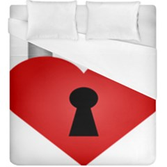 Heart Padlock Red Love Duvet Cover (king Size) by Mariart