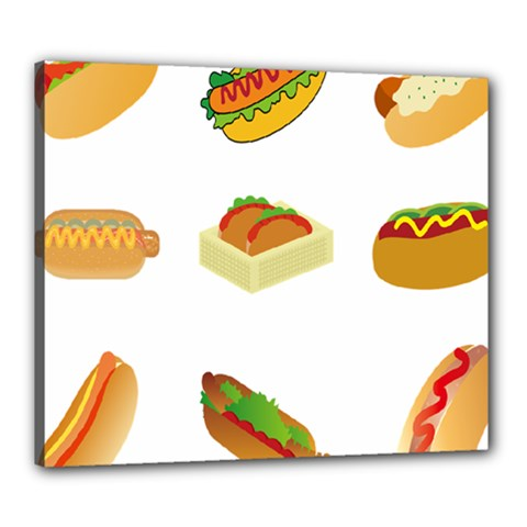 Hot Dog Buns Sauce Bread Canvas 24  X 20  by Mariart