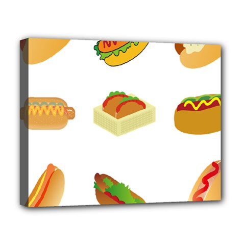 Hot Dog Buns Sauce Bread Deluxe Canvas 20  X 16   by Mariart
