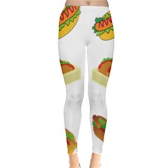 Hot Dog Buns Sauce Bread Leggings  by Mariart