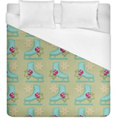 Ice Skates Background Christmas Duvet Cover (king Size) by Mariart