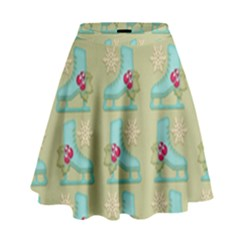 Ice Skates Background Christmas High Waist Skirt by Mariart