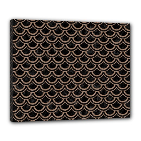 Scales2 Black Marble & Brown Colored Pencil Canvas 20  X 16  (stretched) by trendistuff