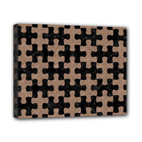 Puzzle1 Black Marble & Brown Colored Pencil Canvas 10  X 8  (stretched) by trendistuff