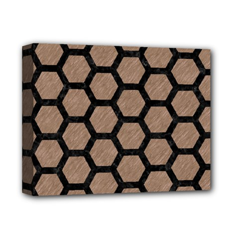 Hexagon2 Black Marble & Brown Colored Pencil (r) Deluxe Canvas 14  X 11  (stretched) by trendistuff