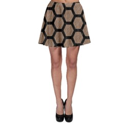 Hexagon2 Black Marble & Brown Colored Pencil (r) Skater Skirt by trendistuff