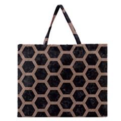 Hexagon2 Black Marble & Brown Colored Pencil Zipper Large Tote Bag by trendistuff