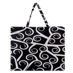Koru Vector Background Black Zipper Large Tote Bag by Mariart