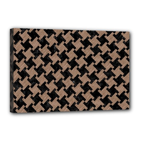 Houndstooth2 Black Marble & Brown Colored Pencil Canvas 18  X 12  (stretched) by trendistuff