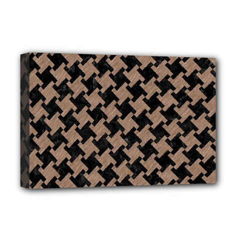Houndstooth2 Black Marble & Brown Colored Pencil Deluxe Canvas 18  X 12  (stretched) by trendistuff