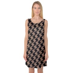 Houndstooth2 Black Marble & Brown Colored Pencil Sleeveless Satin Nightdress by trendistuff