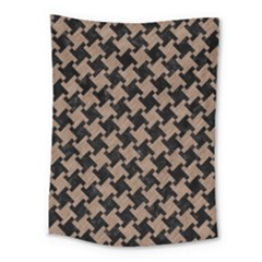 Houndstooth2 Black Marble & Brown Colored Pencil Medium Tapestry by trendistuff