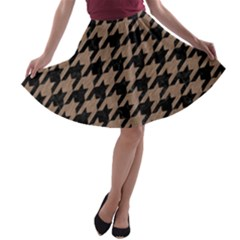 Houndstooth1 Black Marble & Brown Colored Pencil A Line Skater Skirt by trendistuff