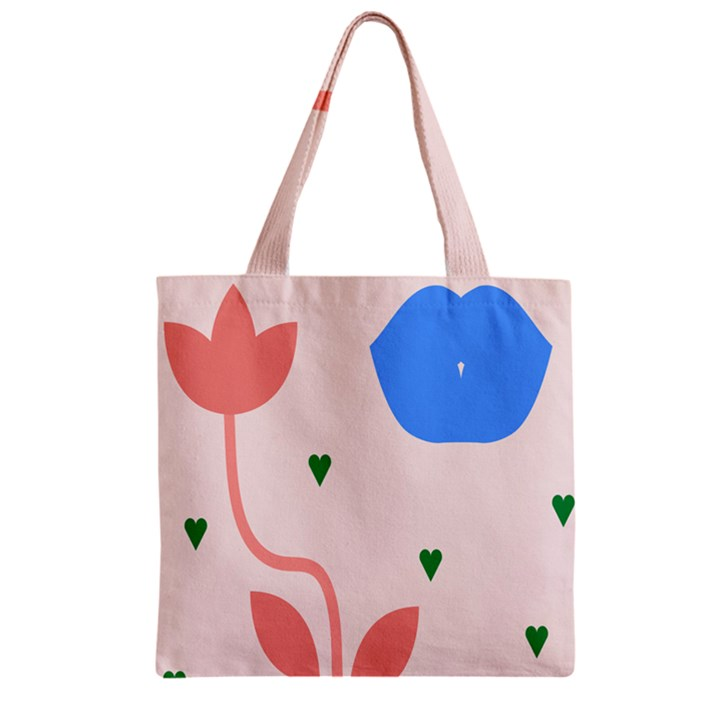 Lip Sexy Flower Tulip Heart Pink Red Blue Green Love Zipper Grocery Tote Bag