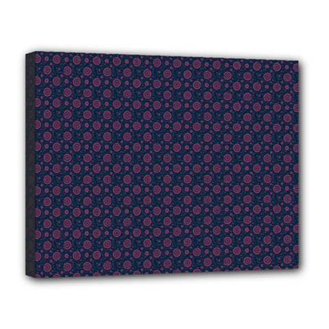 Purple Floral Seamless Pattern Flower Circle Star Canvas 14  X 11  by Mariart