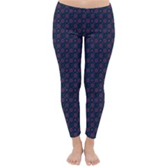 Purple Floral Seamless Pattern Flower Circle Star Classic Winter Leggings by Mariart