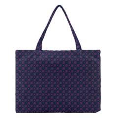 Purple Floral Seamless Pattern Flower Circle Star Medium Tote Bag by Mariart