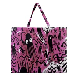 Octopus Colorful Cartoon Octopuses Pattern Black Pink Zipper Large Tote Bag by Mariart