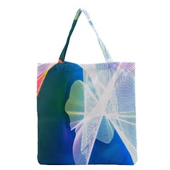 Net Sea Blue Sky Waves Wave Chevron Grocery Tote Bag by Mariart