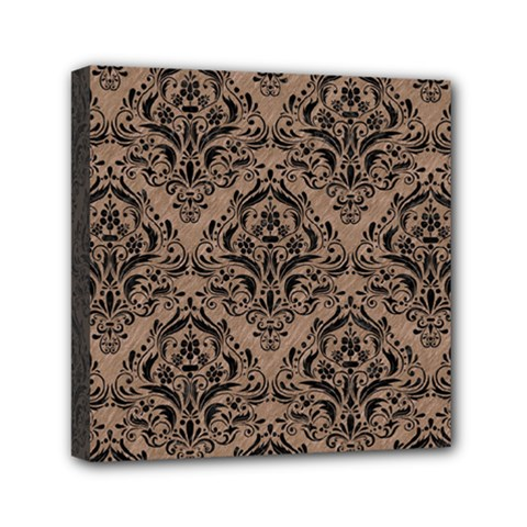 Damask1 Black Marble & Brown Colored Pencil (r) Mini Canvas 6  X 6  (stretched) by trendistuff