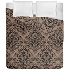 Damask1 Black Marble & Brown Colored Pencil (r) Duvet Cover Double Side (california King Size) by trendistuff