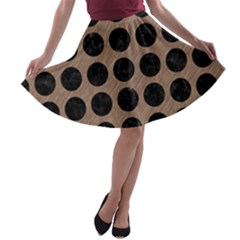 Circles1 Black Marble & Brown Colored Pencil (r) A Line Skater Skirt by trendistuff