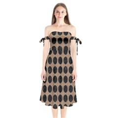 Circles1 Black Marble & Brown Colored Pencil (r) Shoulder Tie Bardot Midi Dress