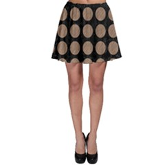 Circles1 Black Marble & Brown Colored Pencil Skater Skirt by trendistuff