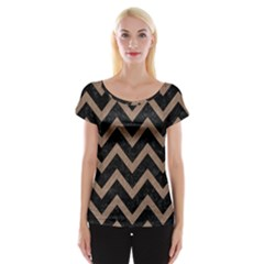 Chevron9 Black Marble & Brown Colored Pencil Cap Sleeve Top by trendistuff