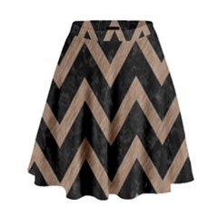 Chevron9 Black Marble & Brown Colored Pencil High Waist Skirt by trendistuff