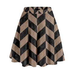 Chevron1 Black Marble & Brown Colored Pencil High Waist Skirt by trendistuff