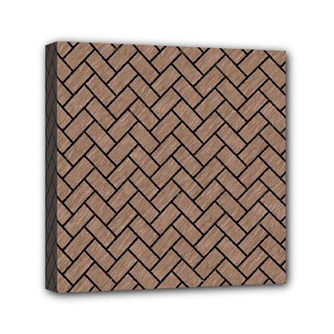 Brick2 Black Marble & Brown Colored Pencil (r) Mini Canvas 6  X 6  (stretched) by trendistuff