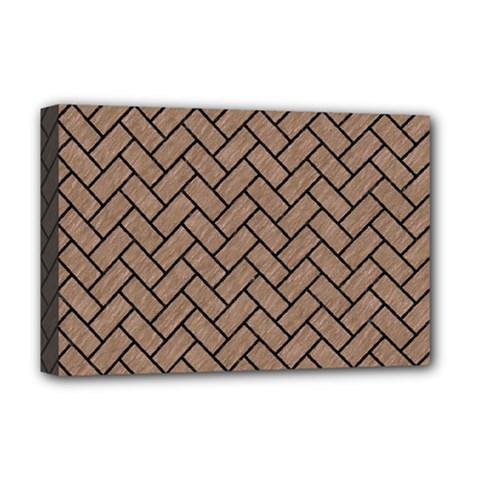 Brick2 Black Marble & Brown Colored Pencil (r) Deluxe Canvas 18  X 12  (stretched) by trendistuff