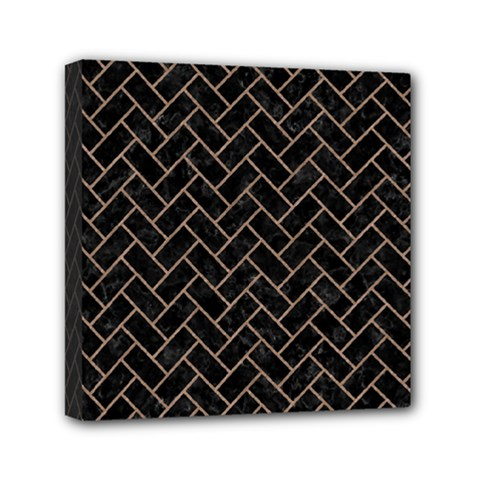 Brick2 Black Marble & Brown Colored Pencil Mini Canvas 6  X 6  (stretched) by trendistuff
