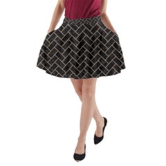 Brick2 Black Marble & Brown Colored Pencil A Line Pocket Skirt by trendistuff