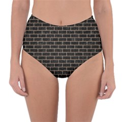 Brick1 Black Marble & Brown Colored Pencil Reversible High Waist Bikini Bottoms