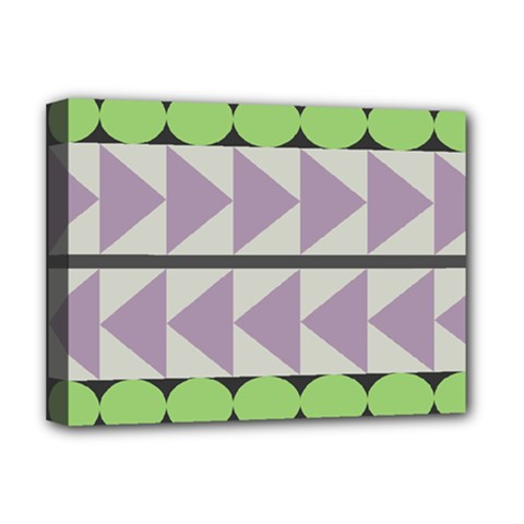Shapes Patchwork Circle Triangle Deluxe Canvas 16  X 12   by Mariart