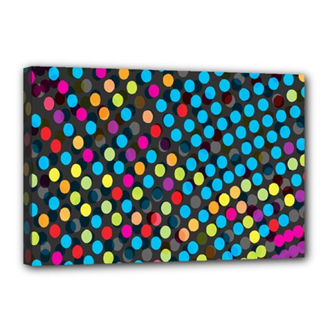 Polkadot Rainbow Colorful Polka Circle Line Light Canvas 18  X 12  by Mariart