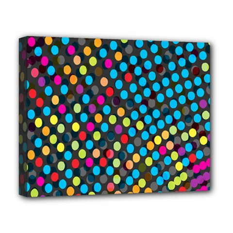 Polkadot Rainbow Colorful Polka Circle Line Light Deluxe Canvas 20  X 16   by Mariart