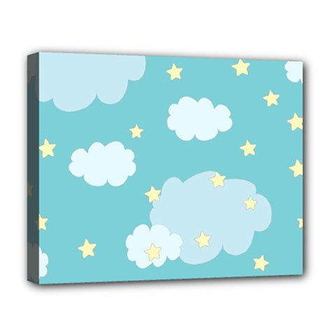 Stellar Cloud Blue Sky Star Deluxe Canvas 20  X 16   by Mariart