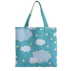 Stellar Cloud Blue Sky Star Zipper Grocery Tote Bag by Mariart