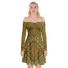 Oriental Pattern 01b Off Shoulder Skater Dress by MoreColorsinLife