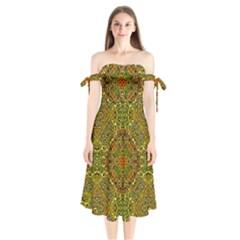 Oriental Pattern 01b Shoulder Tie Bardot Midi Dress by MoreColorsinLife