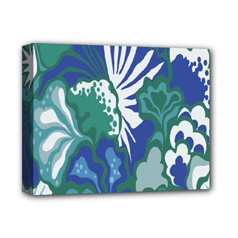 Tropics Leaf Bluegreen Deluxe Canvas 14  X 11  by Mariart