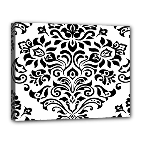 Vintage Damask Black Flower Canvas 14  X 11  by Mariart