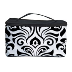 Vintage Damask Black Flower Cosmetic Storage Case by Mariart