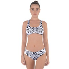 Vintage Damask Black Flower Criss Cross Bikini Set
